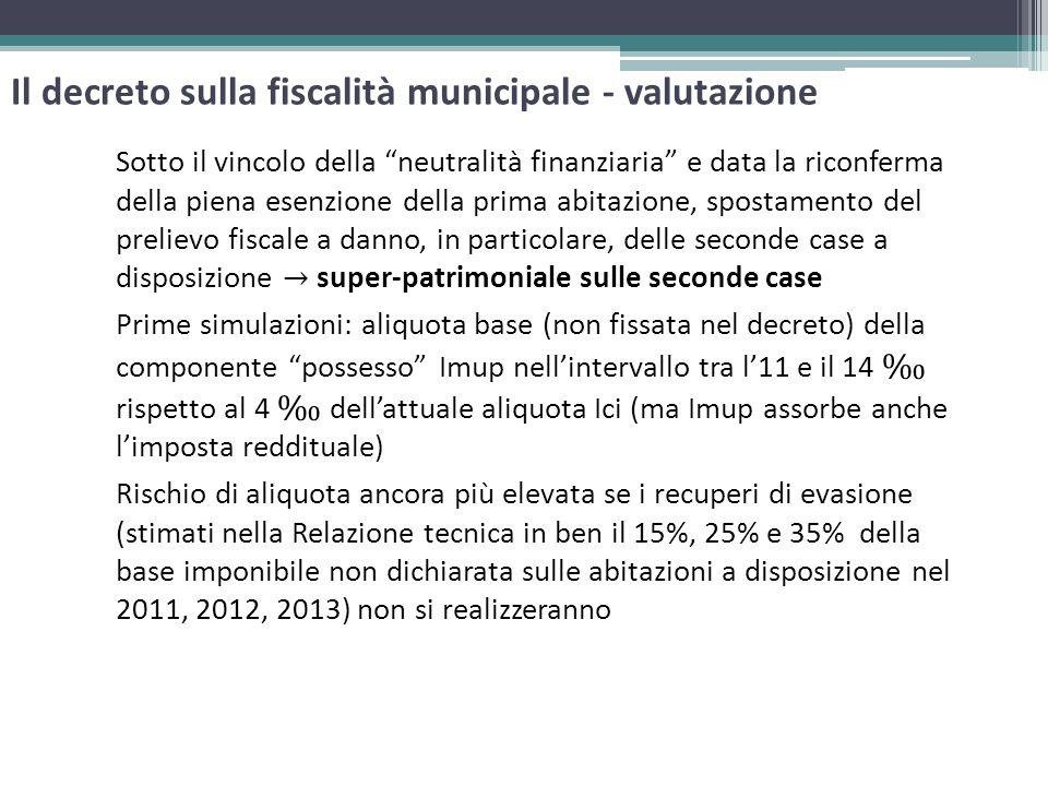 Il decreto sulla fiscalità municipale - valutazione Sotto il vincolo della neutralità finanziaria e data la riconferma della piena esenzione della pri