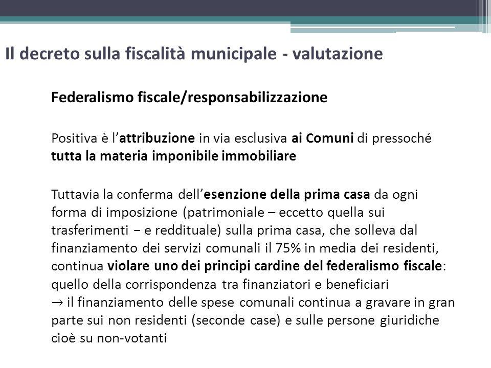 Il decreto sulla fiscalità municipale - valutazione Federalismo fiscale/responsabilizzazione Positiva è lattribuzione in via esclusiva ai Comuni di pr