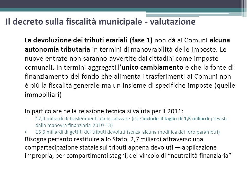 Il decreto sulla fiscalità municipale - valutazione La devoluzione dei tributi erariali (fase 1) non dà ai Comuni alcuna autonomia tributaria in termi