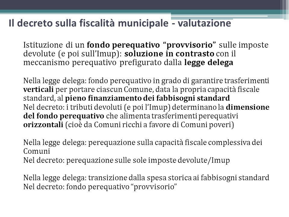 Il decreto sulla fiscalità municipale - valutazione Istituzione di un fondo perequativo provvisorio sulle imposte devolute (e poi sullImup): soluzione