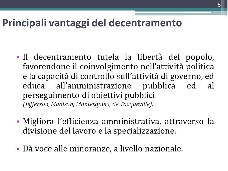 Principali vantaggi del decentramento Il decentramento tutela la libertà del popolo, favorendone il coinvolgimento nellattività politica e la capacità