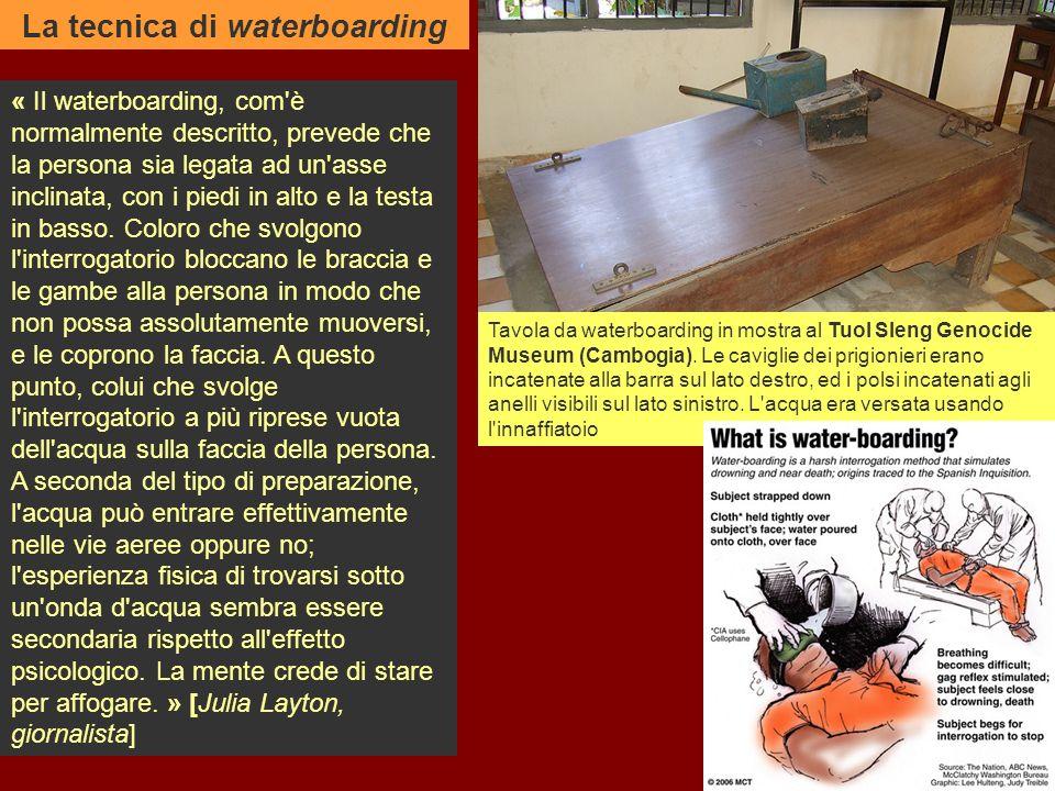 « Il waterboarding, com è normalmente descritto, prevede che la persona sia legata ad un asse inclinata, con i piedi in alto e la testa in basso.