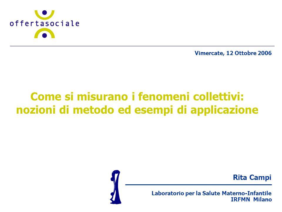 Rita Campi Laboratorio per la Salute Materno-Infantile IRFMN Milano Come si misurano i fenomeni collettivi: nozioni di metodo ed esempi di applicazione Vimercate, 12 Ottobre 2006