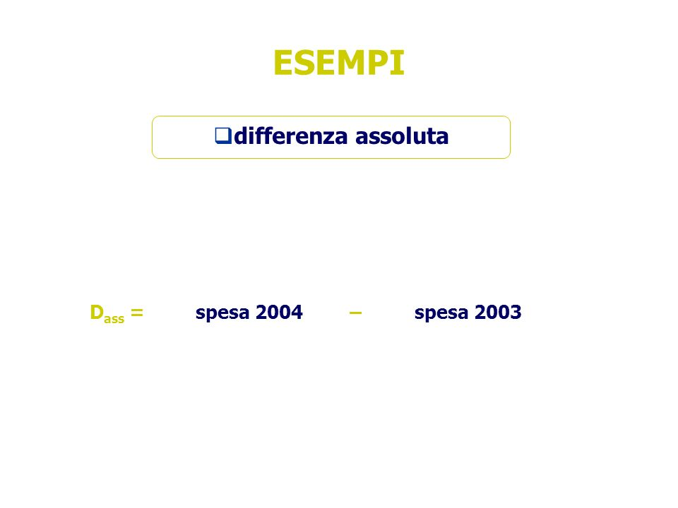 ESEMPI differenza assoluta D ass = spesa 2004– spesa 2003