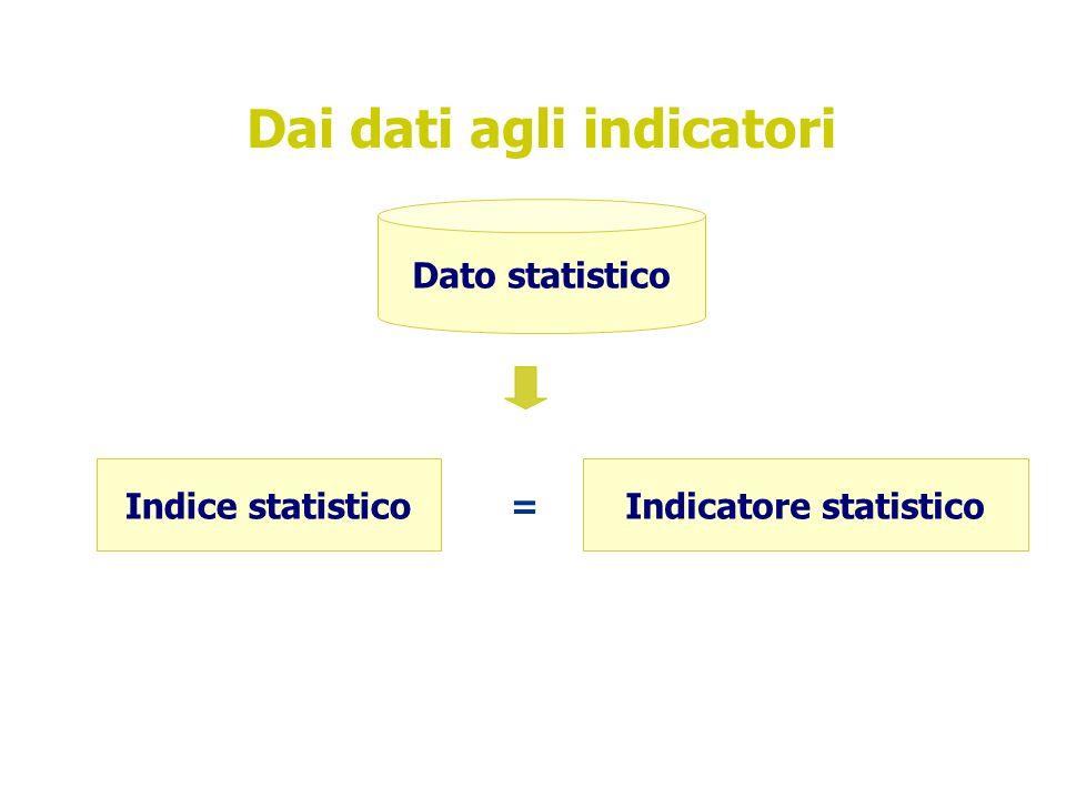 Dai dati agli indicatori Dato statistico Indice statisticoIndicatore statistico =