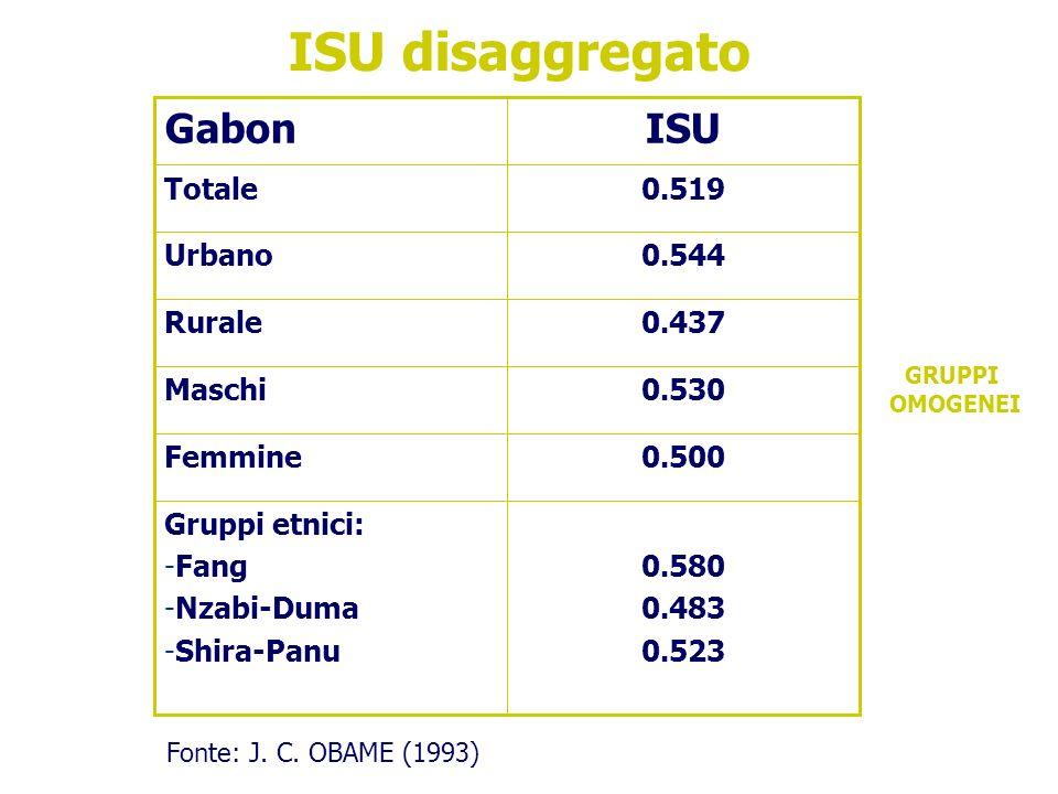 0.580 0.483 0.523 Gruppi etnici: -Fang -Nzabi-Duma -Shira-Panu 0.500Femmine 0.530Maschi 0.437Rurale 0.544Urbano 0.519Totale ISUGabon ISU disaggregato Fonte: J.