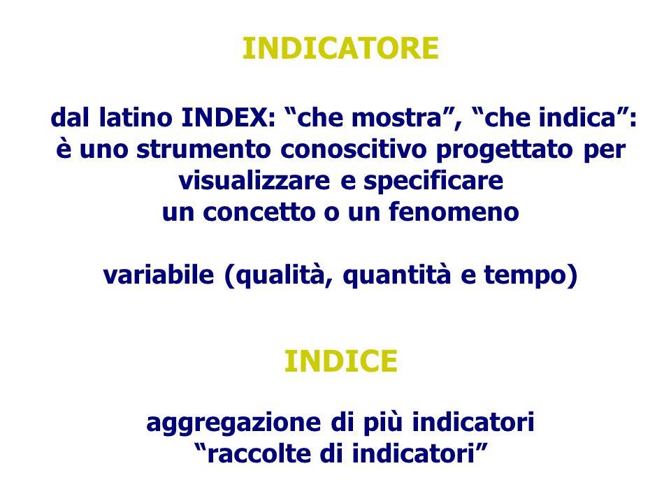 INDICATORE dal latino INDEX: che mostra, che indica: è uno strumento conoscitivo progettato per visualizzare e specificare un concetto o un fenomeno variabile (qualità, quantità e tempo) INDICE aggregazione di più indicatori raccolte di indicatori