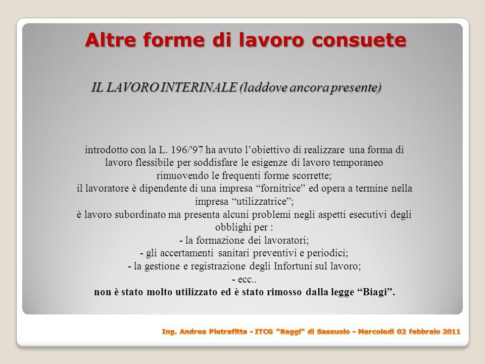 Altre forme di lavoro consuete IL LAVORO IN SOMMINISTRAZIONE - il lavoro in somministrazione Introdotto dalla L.