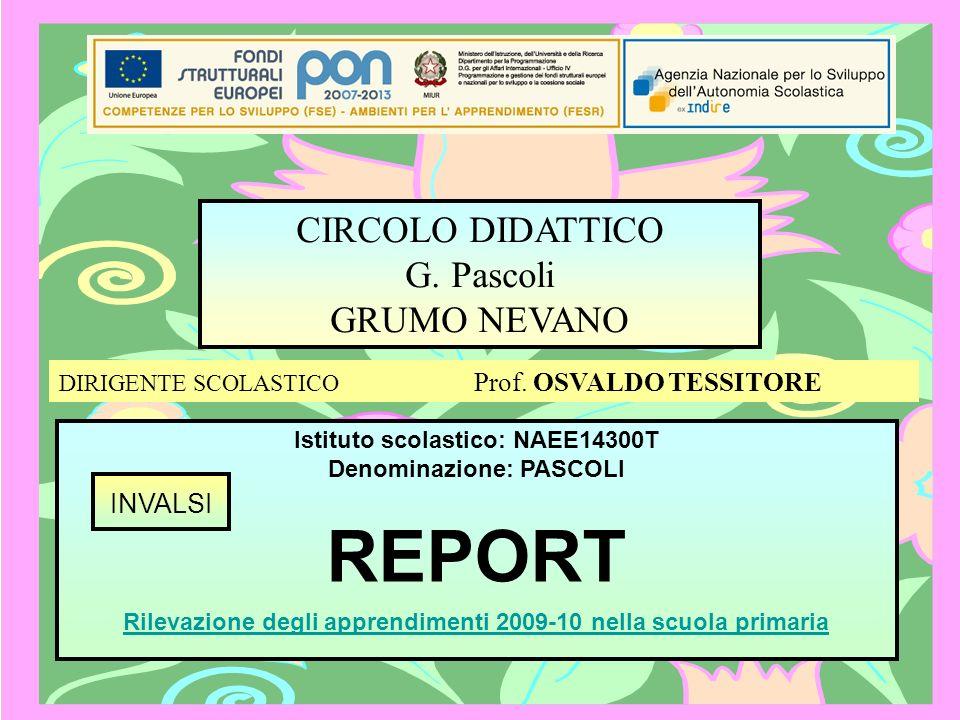 Istituto scolastico: NAEE14300T Denominazione: PASCOLI REPORT CIRCOLO DIDATTICO G. Pascoli GRUMO NEVANO Rilevazione degli apprendimenti 2009-10 nella