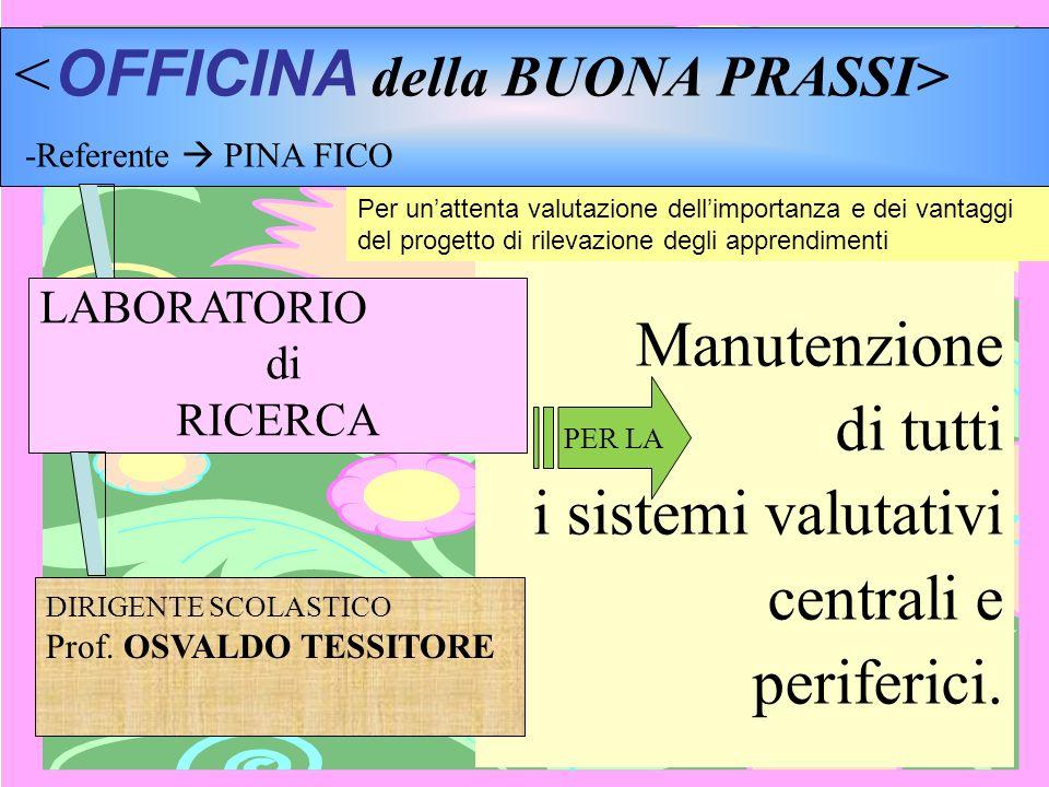 Manutenzione di tutti i sistemi valutativi centrali e periferici. -Referente PINA FICO LABORATORIO di RICERCA PER LA DIRIGENTE SCOLASTICO Prof. OSVALD