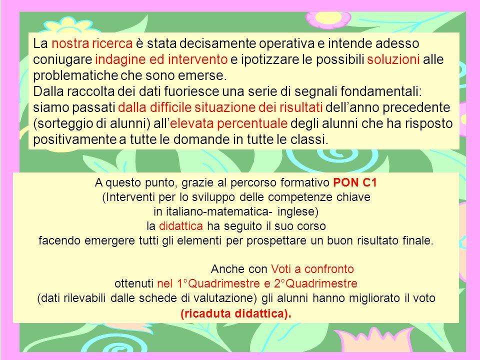 A questo punto, grazie al percorso formativo PON C1 (Interventi per lo sviluppo delle competenze chiave in italiano-matematica- inglese) la didattica