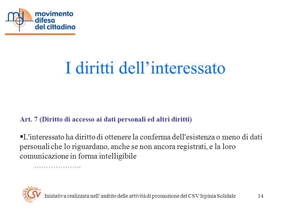 Iniziativa realizzata nellambito delle attività di promozione del CSV Irpinia Solidale14 I diritti dellinteressato Art.