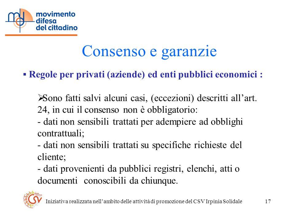 Iniziativa realizzata nellambito delle attività di promozione del CSV Irpinia Solidale17 Consenso e garanzie Regole per privati (aziende) ed enti pubblici economici : Sono fatti salvi alcuni casi, (eccezioni) descritti allart.