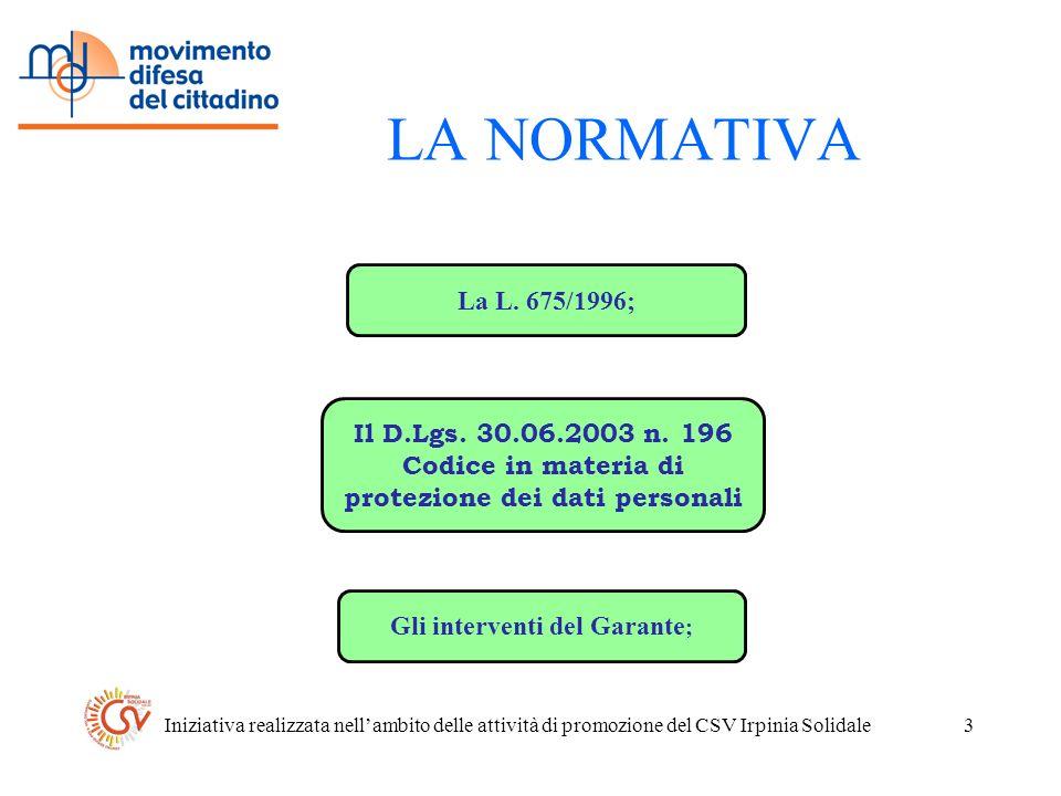 Iniziativa realizzata nellambito delle attività di promozione del CSV Irpinia Solidale3 LA NORMATIVA La L.
