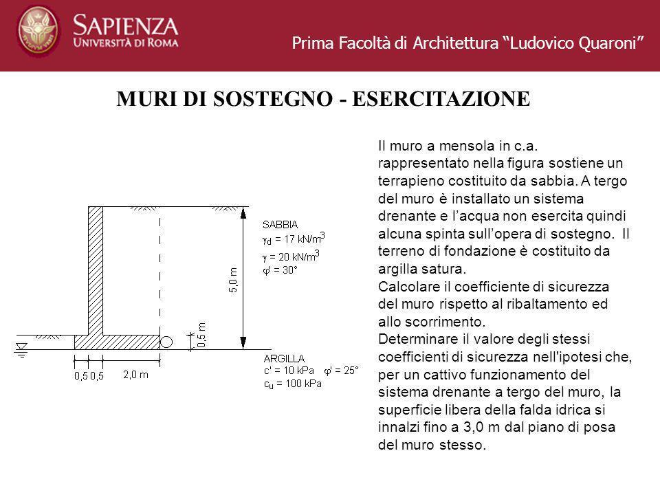 Prima Facoltà di Architettura Ludovico Quaroni MURI DI SOSTEGNO - ESERCITAZIONE Il muro a mensola in c.a.
