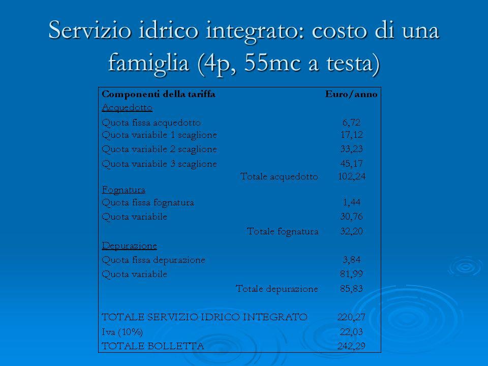 Servizio idrico integrato: costo di una famiglia (4p, 55mc a testa)