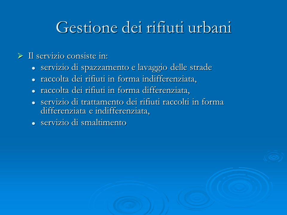 Gestione dei rifiuti urbani Il servizio consiste in: Il servizio consiste in: servizio di spazzamento e lavaggio delle strade servizio di spazzamento