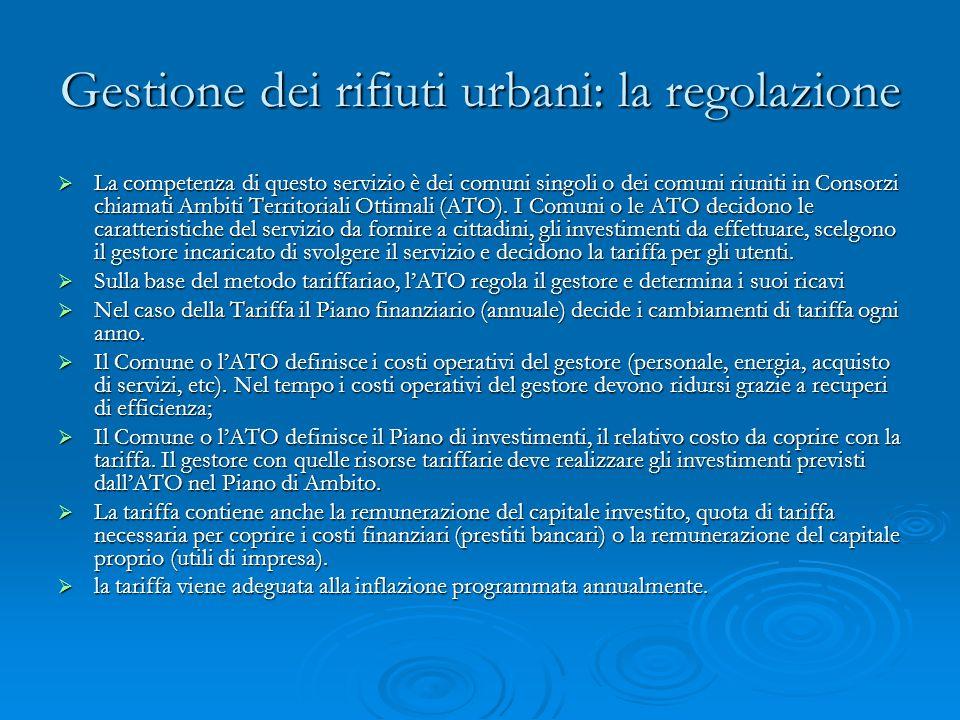 Gestione dei rifiuti urbani: la regolazione La competenza di questo servizio è dei comuni singoli o dei comuni riuniti in Consorzi chiamati Ambiti Territoriali Ottimali (ATO).