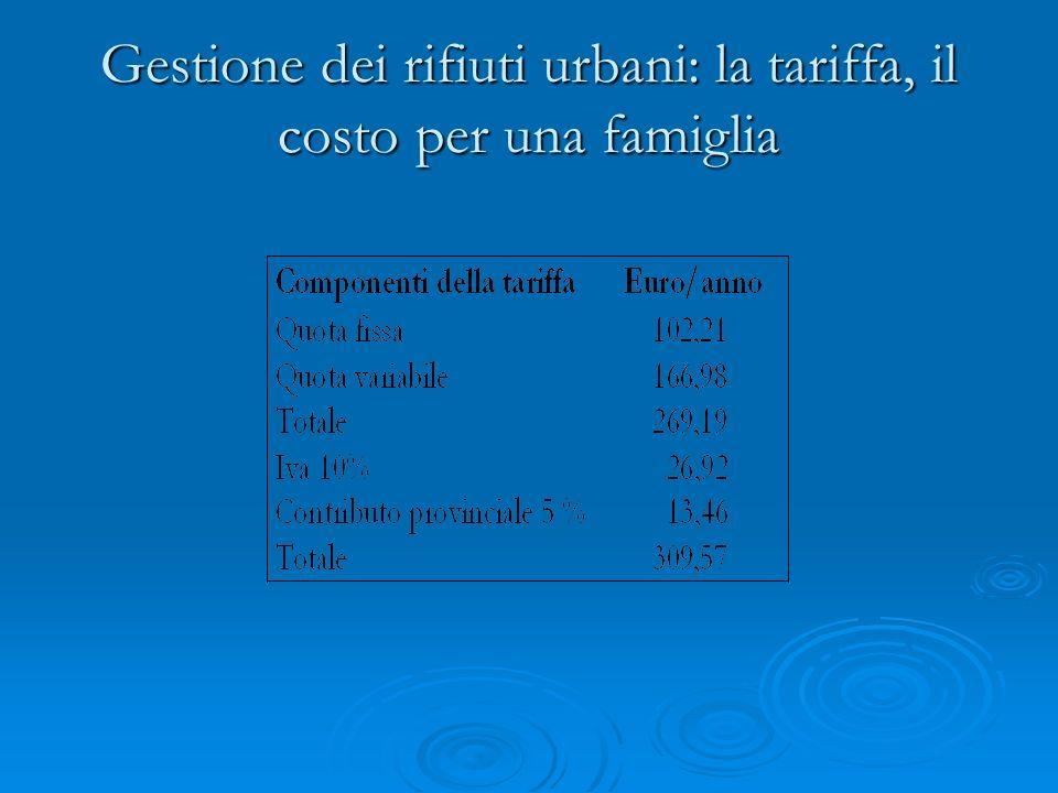 Gestione dei rifiuti urbani: la tariffa, il costo per una famiglia