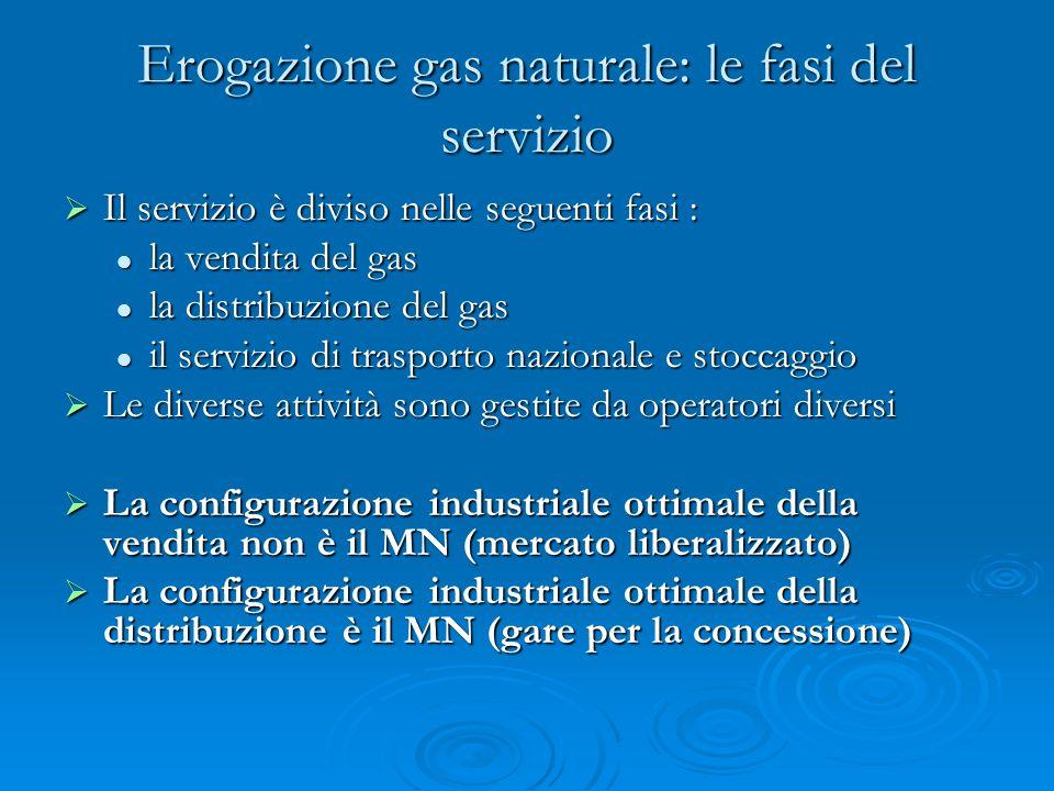 Erogazione gas naturale: le fasi del servizio Il servizio è diviso nelle seguenti fasi : Il servizio è diviso nelle seguenti fasi : la vendita del gas