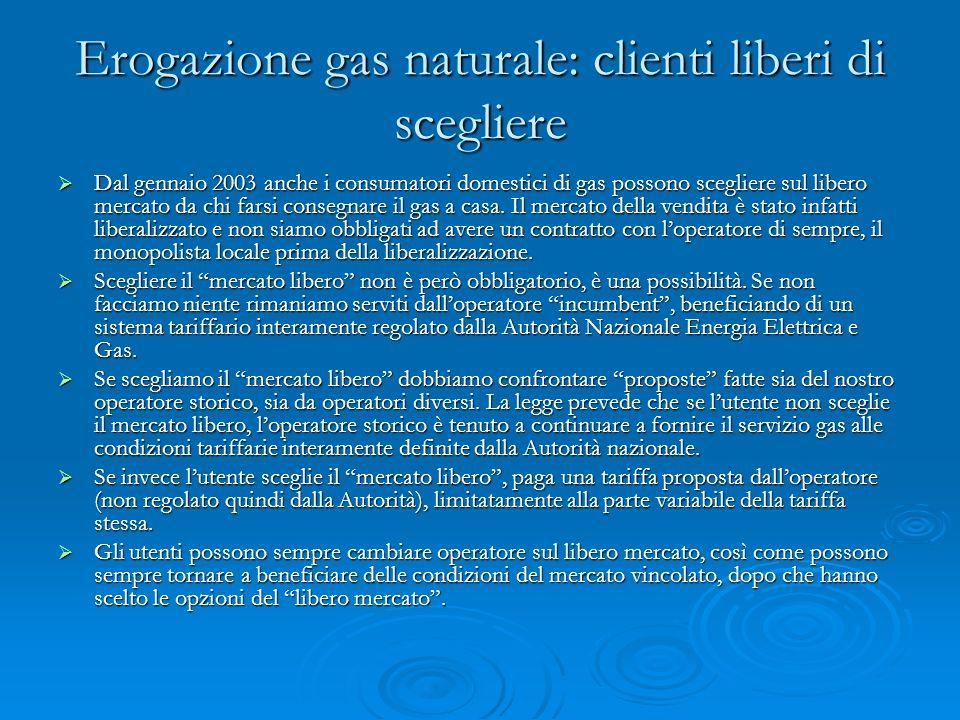 Erogazione gas naturale: clienti liberi di scegliere Dal gennaio 2003 anche i consumatori domestici di gas possono scegliere sul libero mercato da chi farsi consegnare il gas a casa.