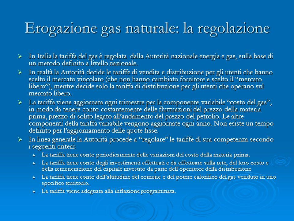 Erogazione gas naturale: la regolazione In Italia la tariffa del gas è regolata dalla Autorità nazionale energia e gas, sulla base di un metodo definito a livello nazionale.