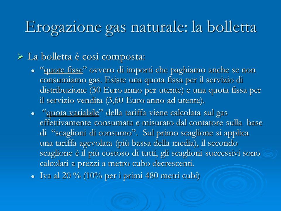 Erogazione gas naturale: la bolletta La bolletta è così composta: La bolletta è così composta: quote fisse ovvero di importi che paghiamo anche se non consumiamo gas.