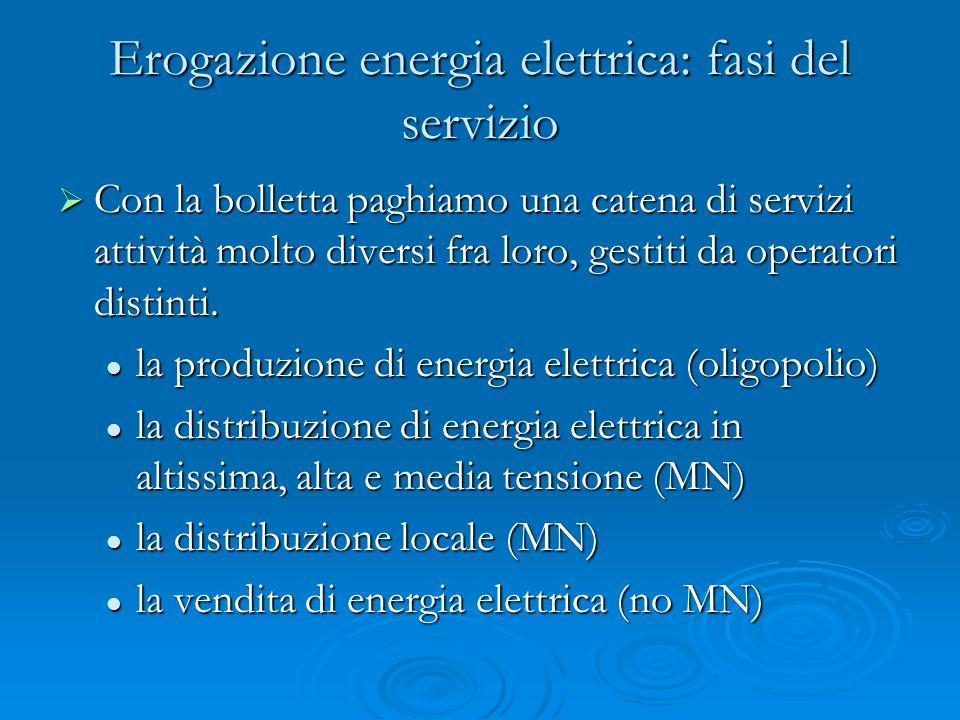 Erogazione energia elettrica: fasi del servizio Con la bolletta paghiamo una catena di servizi attività molto diversi fra loro, gestiti da operatori distinti.