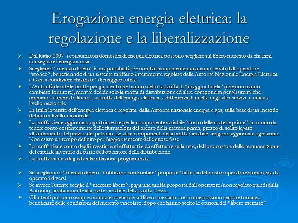 Erogazione energia elettrica: la regolazione e la liberalizzazione Dal luglio 2007 i consumatori domestici di energia elettrica possono scegliere sul libero mercato da chi farsi consegnare lenergia a casa.