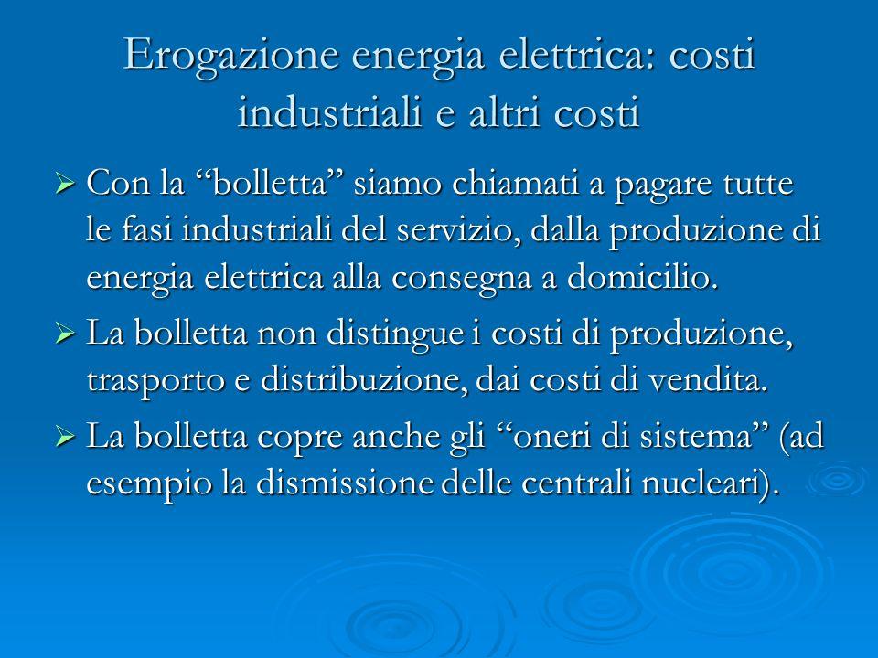 Erogazione energia elettrica: costi industriali e altri costi Con la bolletta siamo chiamati a pagare tutte le fasi industriali del servizio, dalla produzione di energia elettrica alla consegna a domicilio.