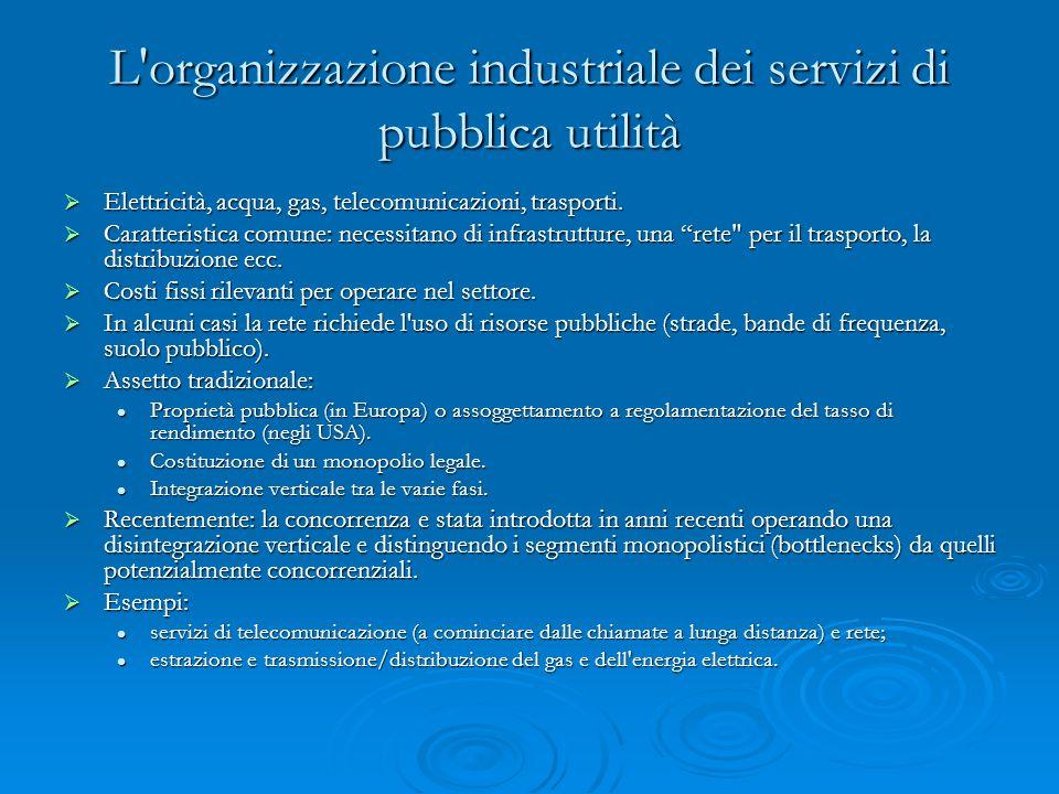 L organizzazione industriale dei servizi di pubblica utilità Elettricità, acqua, gas, telecomunicazioni, trasporti.