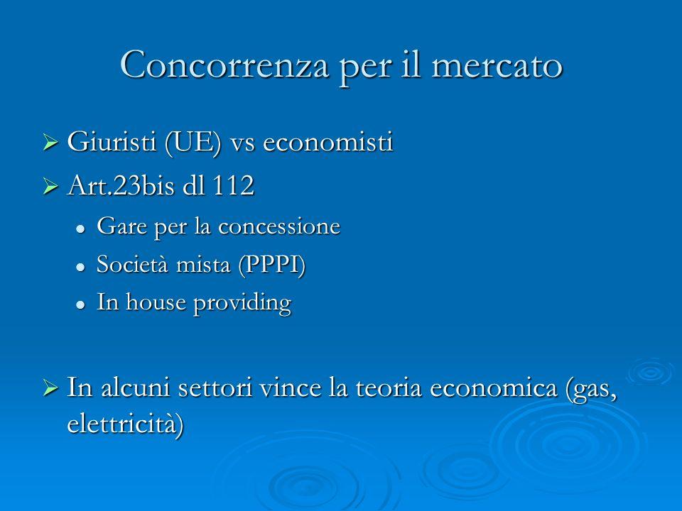 Concorrenza per il mercato Giuristi (UE) vs economisti Giuristi (UE) vs economisti Art.23bis dl 112 Art.23bis dl 112 Gare per la concessione Gare per