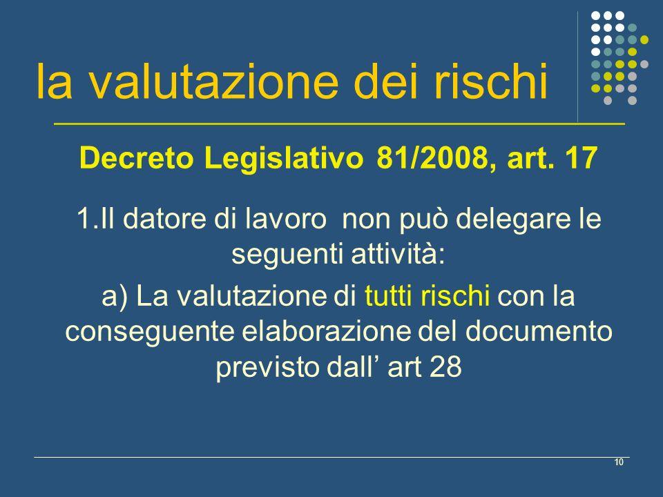 10 la valutazione dei rischi Decreto Legislativo 81/2008, art. 17 1.Il datore di lavoro non può delegare le seguenti attività: a) La valutazione di tu