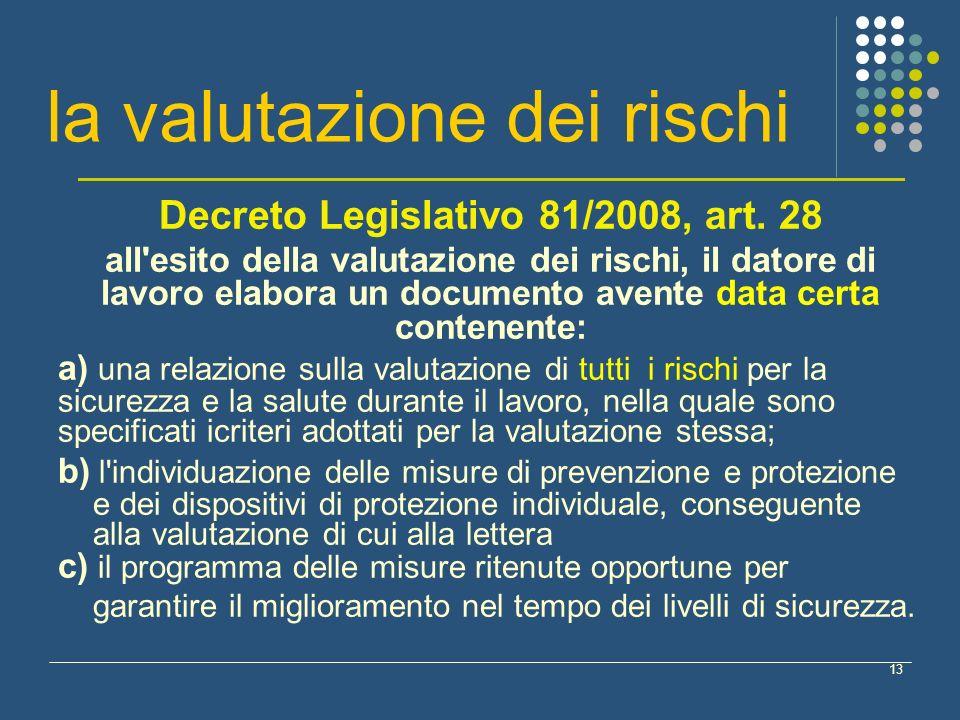 13 la valutazione dei rischi Decreto Legislativo 81/2008, art. 28 all'esito della valutazione dei rischi, il datore di lavoro elabora un documento ave
