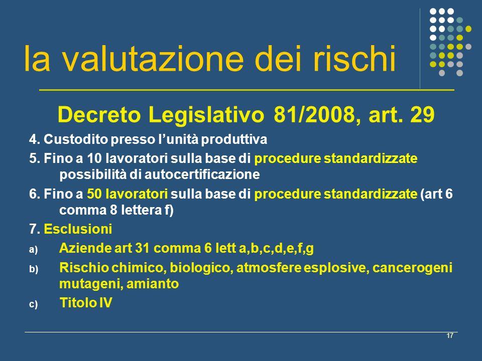 17 la valutazione dei rischi Decreto Legislativo 81/2008, art. 29 4. Custodito presso lunità produttiva 5. Fino a 10 lavoratori sulla base di procedur