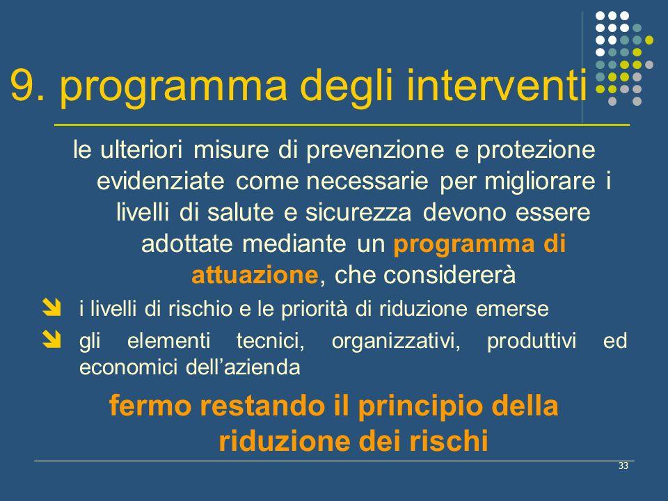 33 9. programma degli interventi le ulteriori misure di prevenzione e protezione evidenziate come necessarie per migliorare i livelli di salute e sicu