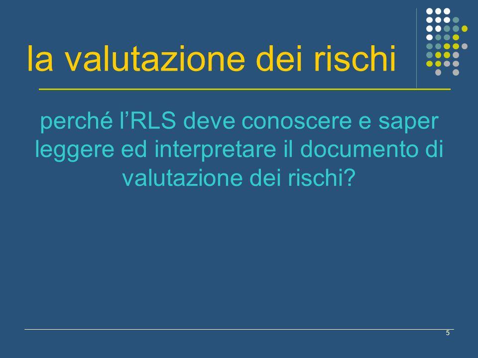 5 la valutazione dei rischi perché lRLS deve conoscere e saper leggere ed interpretare il documento di valutazione dei rischi?