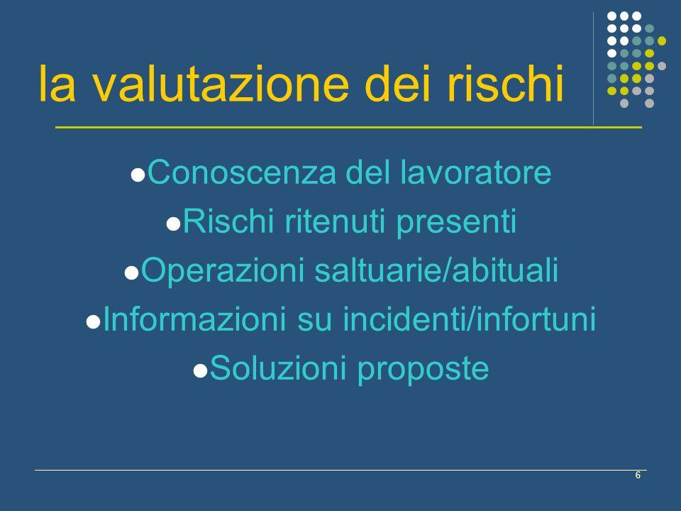 6 la valutazione dei rischi Conoscenza del lavoratore Rischi ritenuti presenti Operazioni saltuarie/abituali Informazioni su incidenti/infortuni Soluz