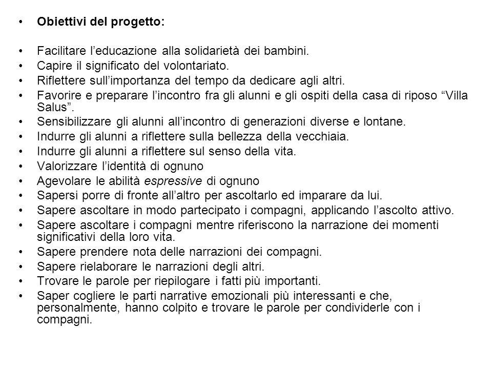 Obiettivi del progetto: Facilitare leducazione alla solidarietà dei bambini.