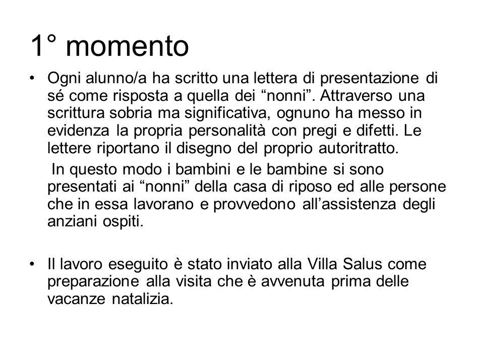 1° momento Ogni alunno/a ha scritto una lettera di presentazione di sé come risposta a quella dei nonni. Attraverso una scrittura sobria ma significat