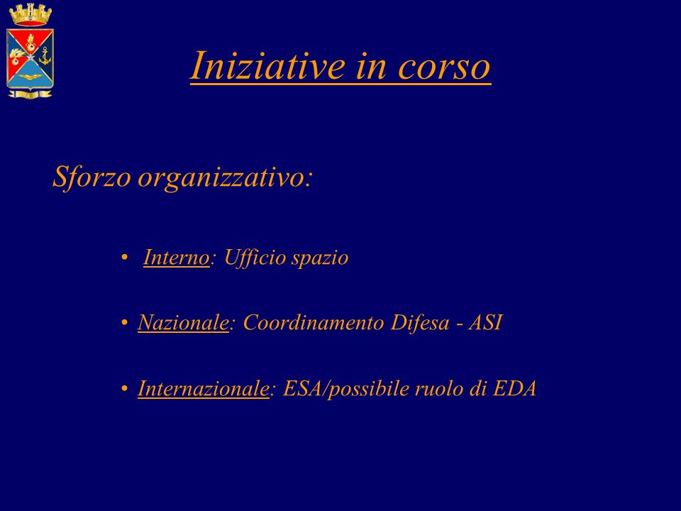 Iniziative in corso Sforzo organizzativo: Interno: Ufficio spazio Nazionale: Coordinamento Difesa - ASI Internazionale: ESA/possibile ruolo di EDA