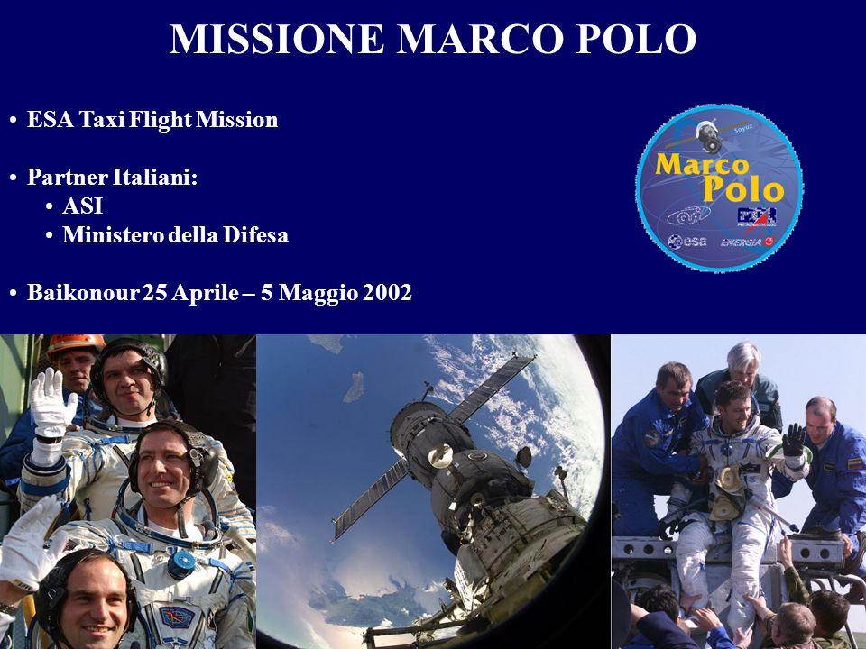MISSIONE MARCO POLO ESA Taxi Flight Mission Partner Italiani: ASI Ministero della Difesa Baikonour 25 Aprile – 5 Maggio 2002