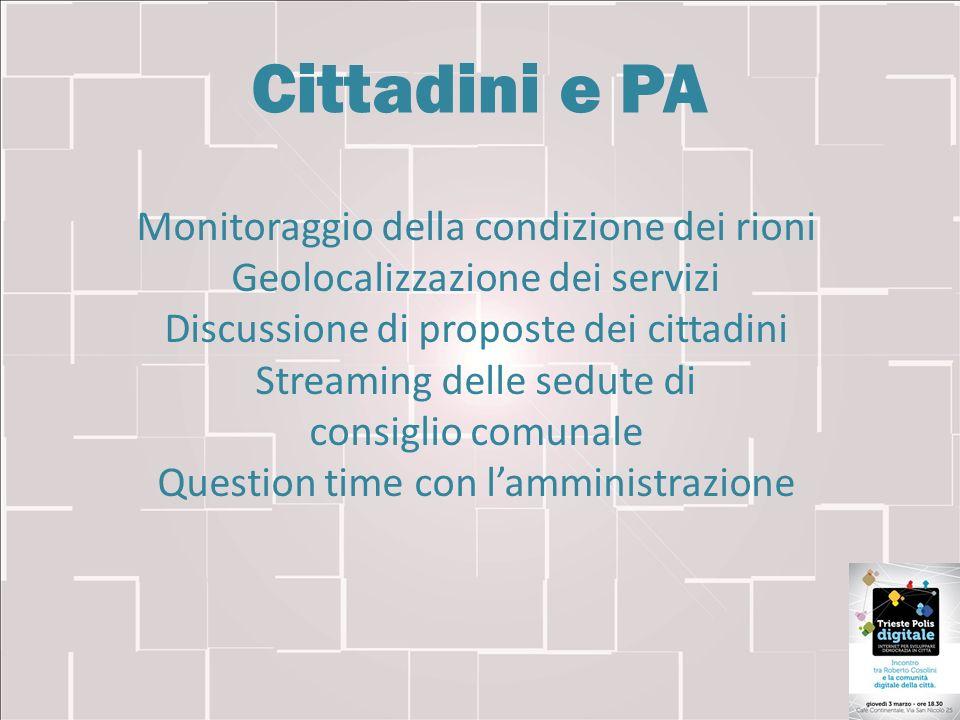 Cittadini e PA Monitoraggio della condizione dei rioni Geolocalizzazione dei servizi Discussione di proposte dei cittadini Streaming delle sedute di c