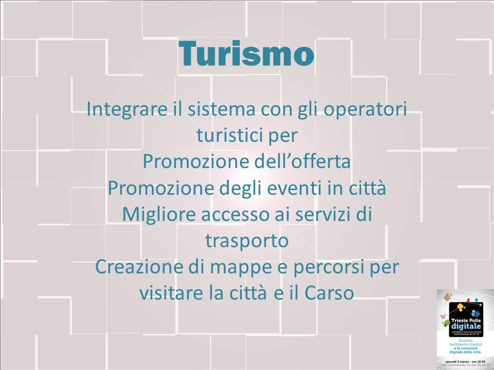Turismo Integrare il sistema con gli operatori turistici per Promozione dellofferta Promozione degli eventi in città Migliore accesso ai servizi di tr