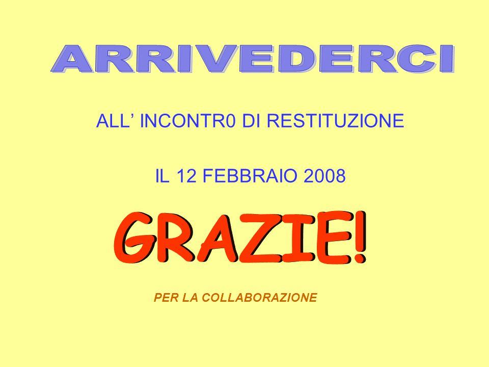 ALL INCONTR0 DI RESTITUZIONE IL 12 FEBBRAIO 2008 PER LA COLLABORAZIONE
