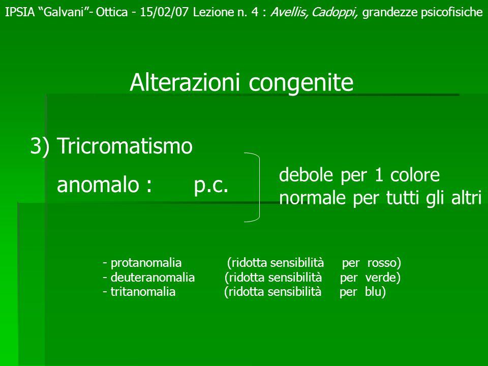 Alterazioni congenite 3) Tricromatismo anomalo : p.c. debole per 1 colore normale per tutti gli altri - protanomalia (ridotta sensibilità per rosso) -
