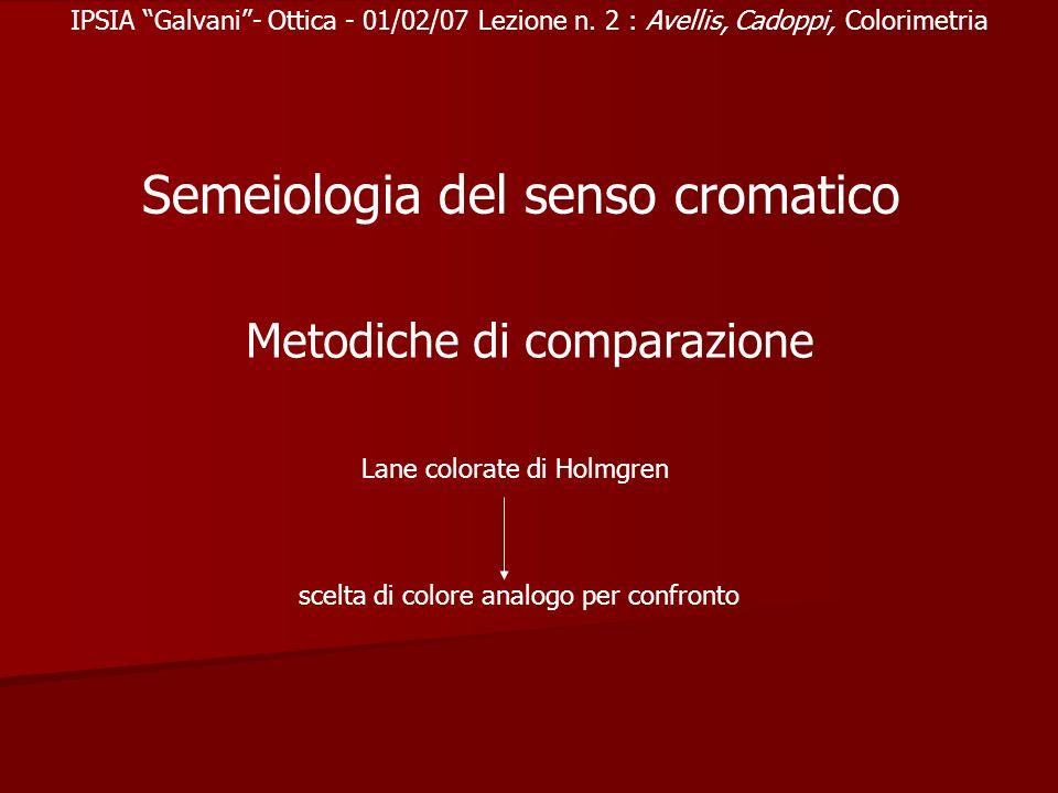 IPSIA Galvani- Ottica - 01/02/07 Lezione n. 2 : Avellis, Cadoppi, Colorimetria Semeiologia del senso cromatico Metodiche di comparazione Lane colorate