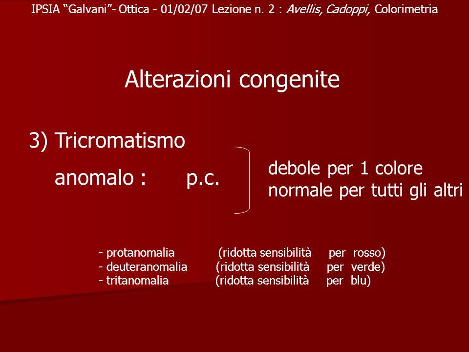IPSIA Galvani- Ottica - 01/02/07 Lezione n. 2 : Avellis, Cadoppi, Colorimetria Alterazioni congenite 3) Tricromatismo anomalo : p.c. debole per 1 colo