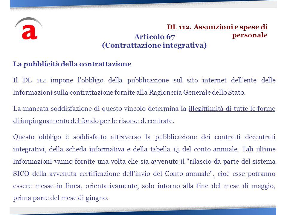 La pubblicità della contrattazione Il DL 112 impone l'obbligo della pubblicazione sul sito internet dell'ente delle informazioni sulla contrattazione