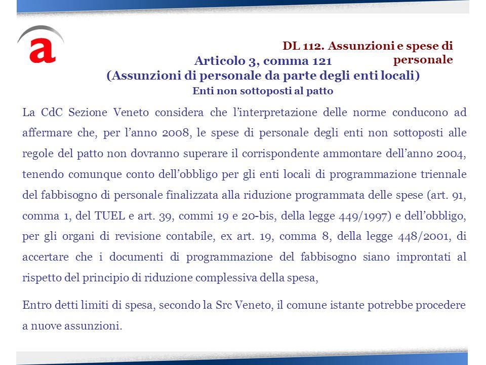 La CdC Sezione Veneto considera che linterpretazione delle norme conducono ad affermare che, per lanno 2008, le spese di personale degli enti non sott